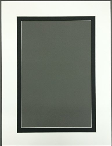 18x24 White & Black Double Picture Mats with White Core Bevel Cut for 13x19 Pictures