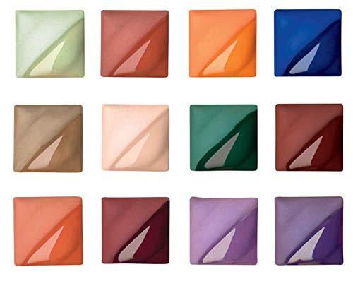 AMACO Velvet Semi-Translucent Underglaze Set 3, Assorted Color, Set of 12