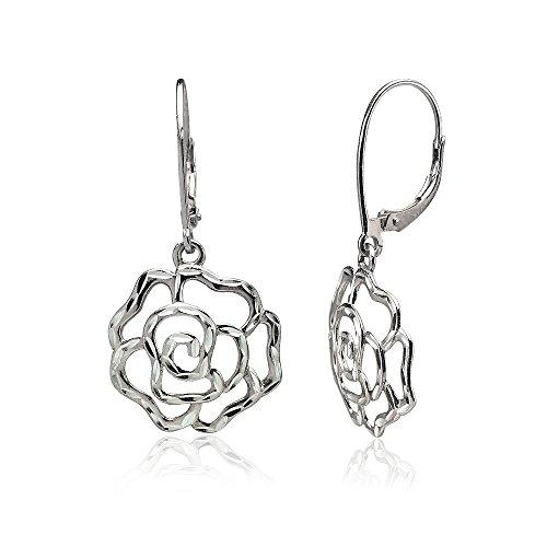 Sterling Silver Diamond-cut Rose Flower Dangle Leverback Earrings, One Pair (Diamond Dangle Flower)
