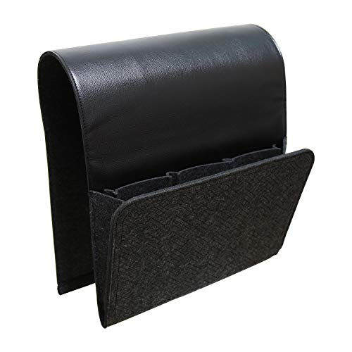 dealinghealing Non-Slip Sofa Couch Chair Recliner Armrest Organizer, Armchair Caddy with 5 Pockets for Cell Phone, Magazines, Book, Ipad, Remote Control Holder - Durable Felt & Leather (Black)