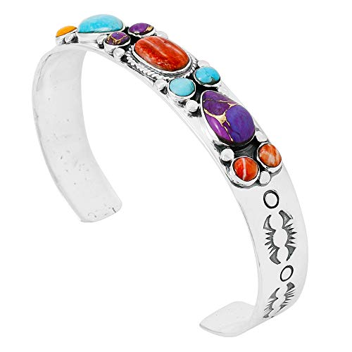 Turquoise Bracelet Sterling Silver 925 Genuine Turquoise Gemstones Cuff Bracelet (Multi)