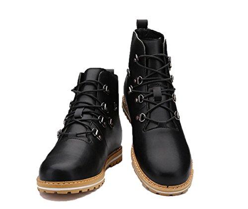Los nuevos zapatos del alto-top, botas botas de los hombres ocio al aire libre de herramientas tendencia de la moda británica de los remaches del cordón de botas de microfibra hombres Black