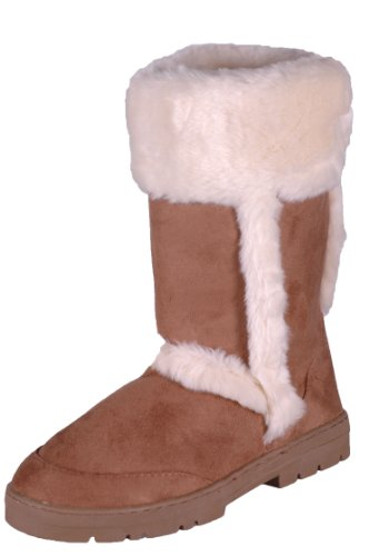 EyeCatchShoes - Womens Winter Warm Fur Suede Style Boots Chestnut RrLgRWRMW