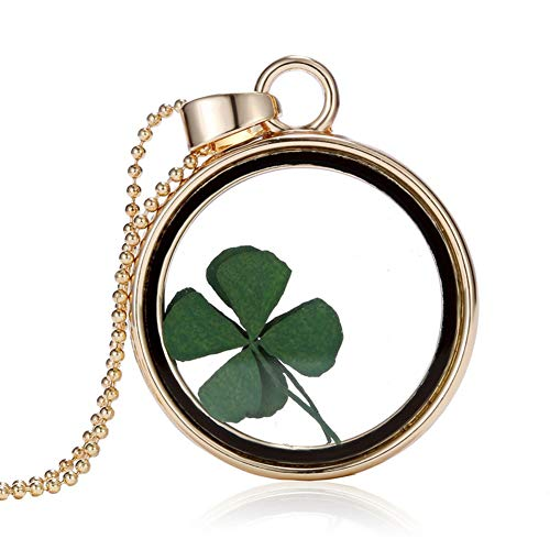 Limount 18K Gold Plated Round Lockets with Four-Leaf Clover Pendants Necklaces for Women Girls