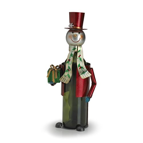 Snowman Bottle - Pfaltzgraff Winterberry Iron Snowman Wine Bottle Holder - 5133843