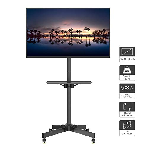 1home Mobile TV Cart Rolling TV Stand for 23-55 inch LCD LED Plasma Display Trolley Floor Stand with Locking Wheels (Upright Tv Stand)