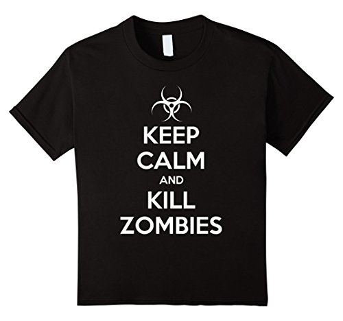 Kids Keep Calm And Kill Zombies T-Shirt 8 Black