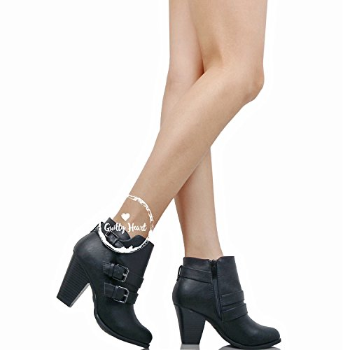 Block Mid Blackv1 Toe Ankle Chunky Heart Womens Bootie Boots Guilty Pu Closed Heel Comfortable xqYRIwnn4C
