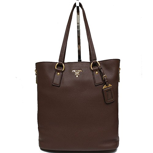 Prada Vit Vitello Daino Bruciato Brown Pebbled Leather Shopping Tote Handbag with Shoulder Strap BR4372