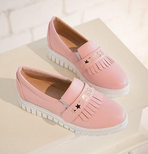 Sfnld Dames Trendy Ronde Neus Laag Uitgesneden Rand Van De Platformrand Bij Loafers Schoenen Roze
