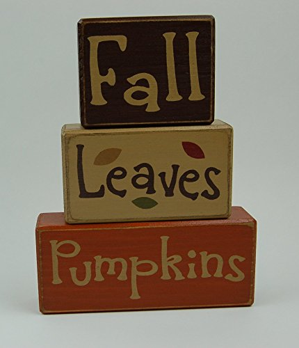 Fall Leaves Pumpkins - Primitive Country Wood Stacking Sign Blocks Seasonal Holiday Thanksgiving Decor (Stacking Pumpkin)