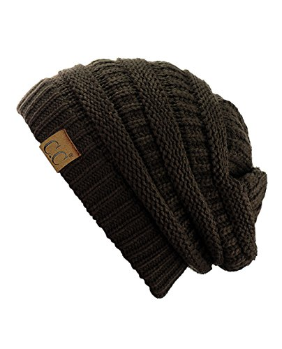 C.C Trendy Warm Chunky Soft Stretch Cable Knit Beanie Skully, Brown