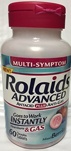 PACK OF 3 - Rolaids Advanced Antacid Plus Anti Gas Tablets Mixed Berry, 60 Count by Rolaids