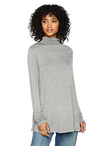 Daily Ritual Women's Jersey Mock-Neck Swing Tunic, light heather grey, Large