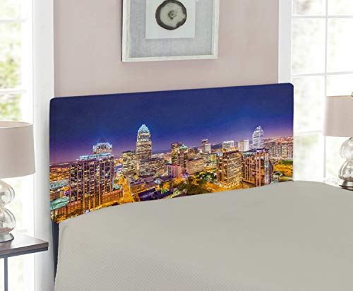 Lunarable Modern Headboard for Twin Size Bed, Panoramic North Carolina Uptown Sky at Night Cityscape Colorful Town Picture, Upholstered Decorative Metal Headboard with Memory Foam, Indigo Orange