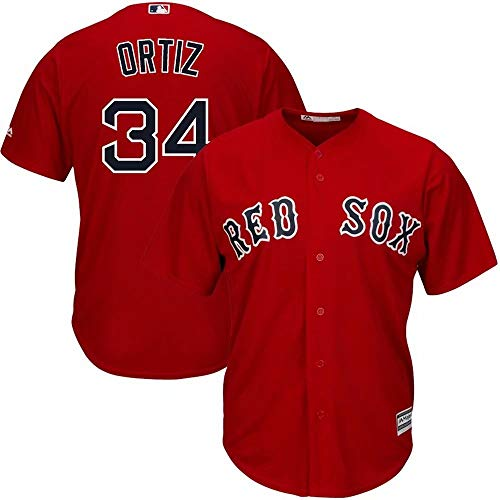 '47 Boston Red Sox Baseball Jersey Ortiz #34 Short Sleeve T-Shirt Button Down Team Sportswear Uniform for Men Women Kids Youth Boston Red Sox Uniform