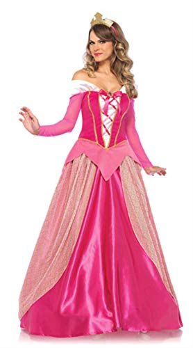 Sleeping Beauty Plus Size Costume (Adult Women Pink Princess Dresses Sleeping Beauty Costume Long Sleeve Aurora Cosplay Fairy Tale Princess Party)