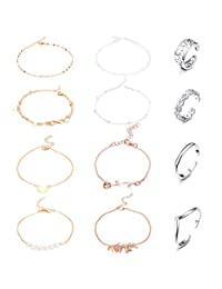 Jstyle 12Pcs Adjustable Toe Rings for Women Girls Band Open Toe Ring Ankle Bracelets Chains Adjustable Beach Anklet Foot Jewelry Set