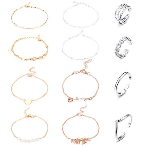 Jstyle 12Pcs Adjustable Anklets Toe Rings for Women Girls Band Open Toe Ring Anklet Bracelets Chains Beach Foot Jewelry Set