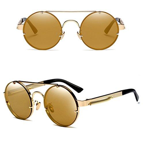 Lunettes Métal des Protection en UV Cadre Zhuhaitf de Rondes Le 400 Gold avec Hommes Femmes de de Cas Soleil xYqYwnOCt