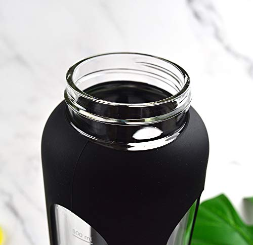 Glass Water Bottle 32 Oz With Silicone Sleeve Leak Proof Flip Top Protein Shaker Bottle 1L Motivational Water Bottle… |