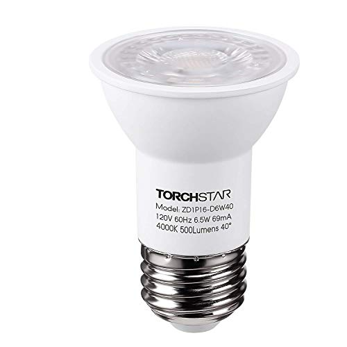 TORCHSTAR PAR16 Dimmable LED Spot Light Bulb, 6.5W (50W Halogen Equivalent), 500lm, 40° Beam Angle, UL & Energy Star Listed Spotlight, 4000K Cool White, E26 Medium Base, 5 Years Warranty