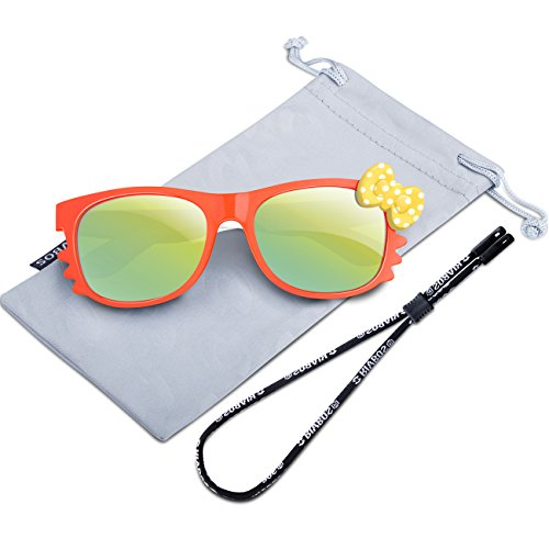RIVBOS Rubber Kids Polarized Sunglasses With Strap Glasses for Boys Girls Baby and Children Age 3-10 RBK002 (Orange Mirror Lens)