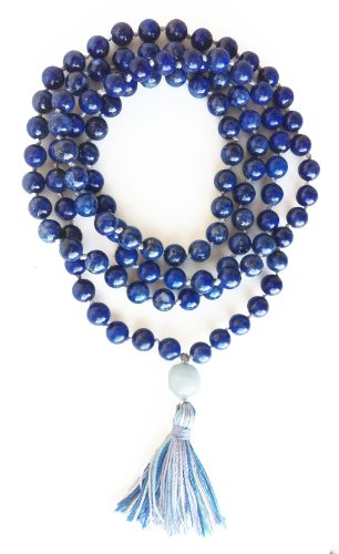 Mala Lapis Hand Knotted 108 Bead Prayer Mala Dye Enhanced