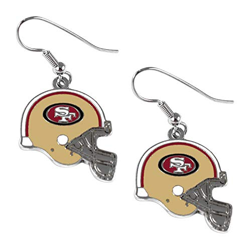 (MISC NFL SF 49ers Earring Set Helmet Shaped Sports Football Earring Charm Gift Silver)