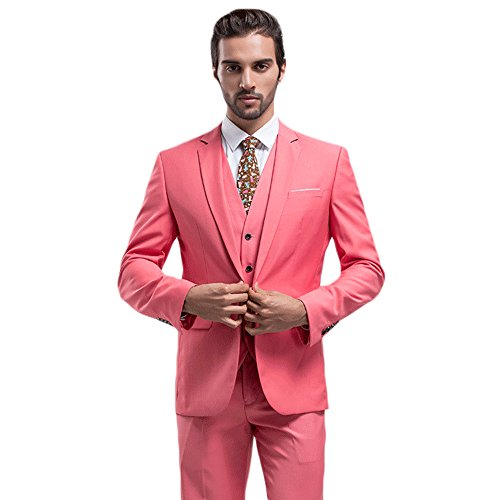 Pink Tuxedo - MAGE MALE Mens Solid 3-Piece Suit Slim Fit Notch Lapel One Button Tuxedo Blazer Jacket Pants Vest Set