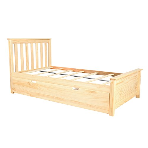 (Max & Lily Solid Wood Twin-Size Bed with Trundle Bed, Natural)