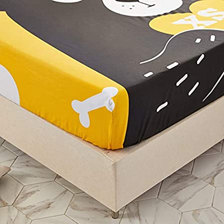 ORIHOME Fitted Sheet 100/% Cotton Cartoon Chick Printing Fitted Sheet Microfiber Bedding Children Baby SBL Stain Resistant Wrinkle Chick,Beige, Full,1 Fitted Sheet