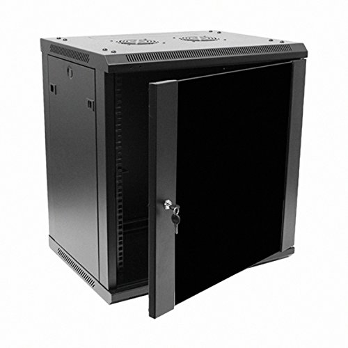 Navepoint 12U Deluxe IT Wallmount Cabinet Enclosure 19-Inch Server Network Rack With Locking Glass Door 16-Inches Deep Black (Server Rack Glass Door compare prices)