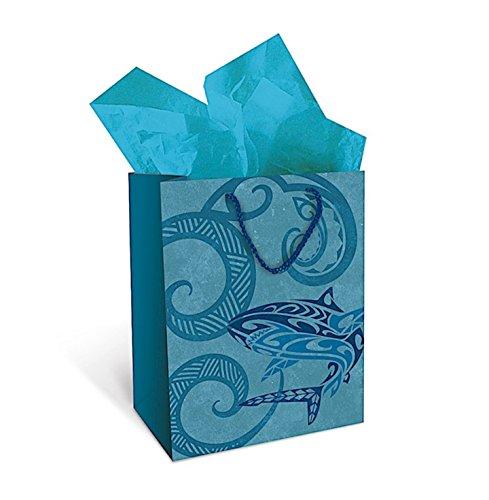 Hawaiian Island Tribal Shark Heavy Paper Gift Bag (Medium 8