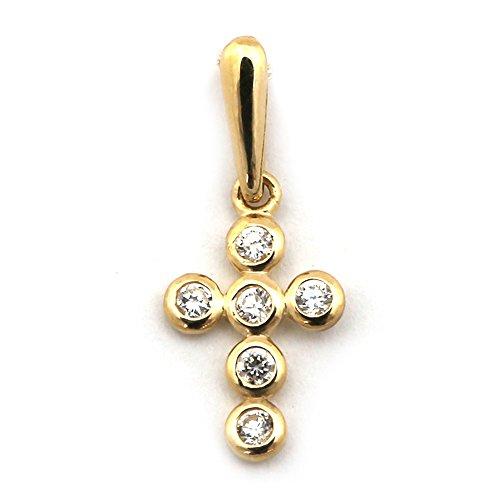 14k Yellow Gold Small Bezel Set Cubic Zirconia Cross -