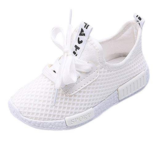 Orfilaly Baby Sport Shoes Trainers for 4-14 Y,Kids Boys Girls Breathable Running Sneakers Shoes Casual Sole Anti-Slip Shoes White