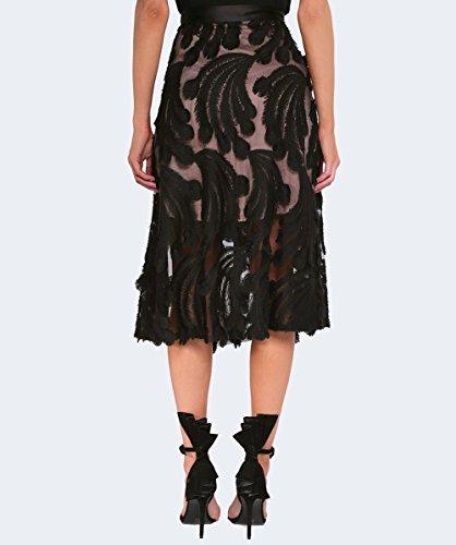 Munthe Mujeres Mercedes plumas falda Midi Negro Negro