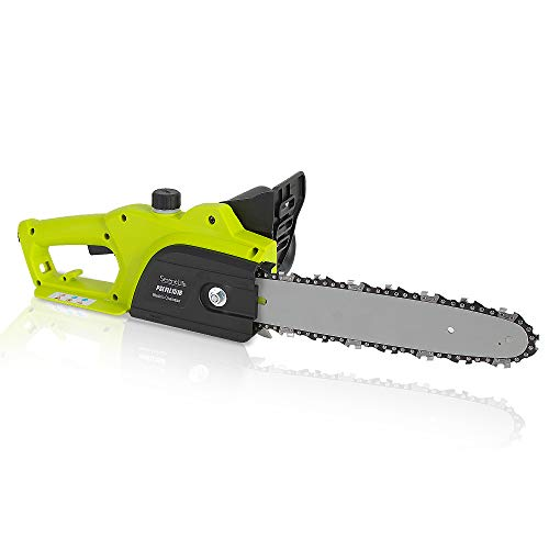 8 Amp Electric Corded Chainsaw - High Power Hand Held Tree Pruner Trimmer Electrical Saw w/ 10ft Cord, 12 inch Alloy Steel Cutting Blade, Oil Container, No Tool Chain Adjuster - SereneLife PSLTLL1516