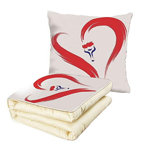 iPrint Quilt Dual-Use Pillow Love Decor Brush Drawing of a Heart Symbol Mutual Special Emotions Positive Humanly Desire Graphic Multifunctional Air-Conditioning Quilt Red Blue White ()