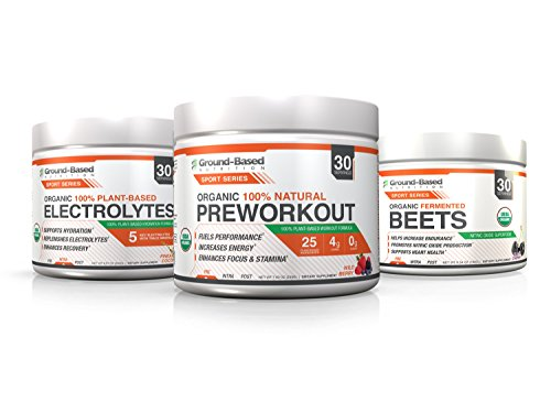 Ground-Based Nutrition Certified Organic Pre-workout, Electrolytes and Fermented Beets Powder Bundle – Raw Food, Zero Carb Plant-Based Formula, Vegan, Gluten Free, Non-GMO, Sugar Free, 30 servings