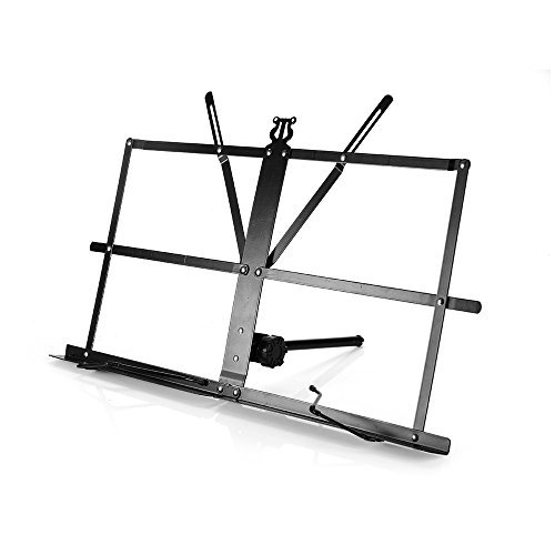 Book Stand, Adjustable Book Holder Tray and Portable Sheet Music Stand Metal Professional Folding Music Holder Desk Sturdy Lightweight, Black, By Vangoa (Keyboard Stand With Music Holder)