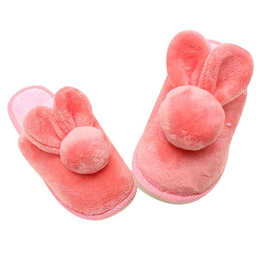Tenworld Women Winter Warm Indoor Rabbit Shoes Anti-slip House Slippers (8.5-9.5, Pink)