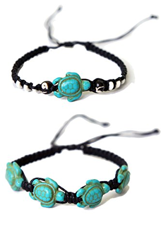 Bundle 2x Turtle Macrame Bracelets Hemp Handmade Reggae Jamaican Hawaiien Style