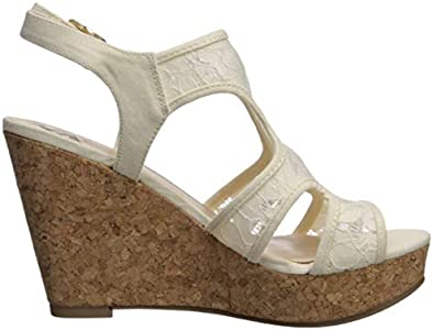 Fergalicious Women's Kenzie Wedge Sandal, Cream, 7.5 M US