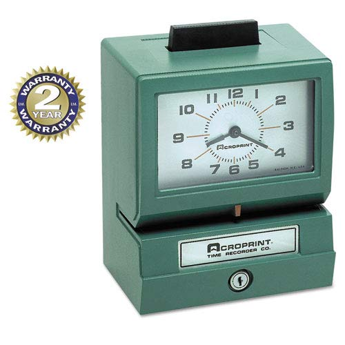 (Model 125 Analog Manual Print Time Clock with Month/Date/0-12 Hours/Minutes, Sold as 1 Each)