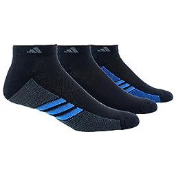 adidas Mens Superlite 3-Pack Low Cut Sock, Black/Shock Blue/Graphite, Large