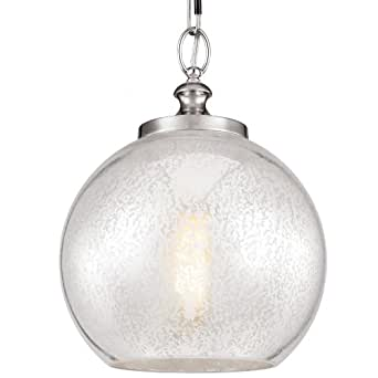 Feiss P1317BS 1-Bulb Pendant, Brushed Steel Finish