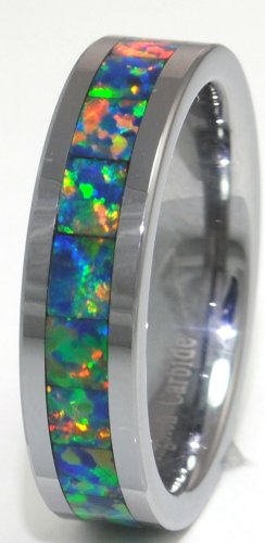 8mm Precious Opal Tungsten Ring with a Brilliant Display Multi Color Fire (Yellow Green) (Brilliant Black Fire Opal Ring)