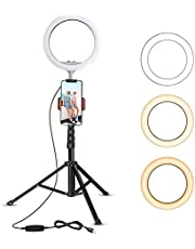 """UBeesize 10"""" Selfie Ring Light with 50"""" Extendable Tripod Stand"""