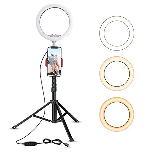 10.2' Selfie Ring Light with Tripod Stand & Cell Phone Holder for Live Stream/Makeup, UBeesize Mini Led Camera Ringlight for YouTube Video/Photography Compatible with iPhone Android (Upgraded)